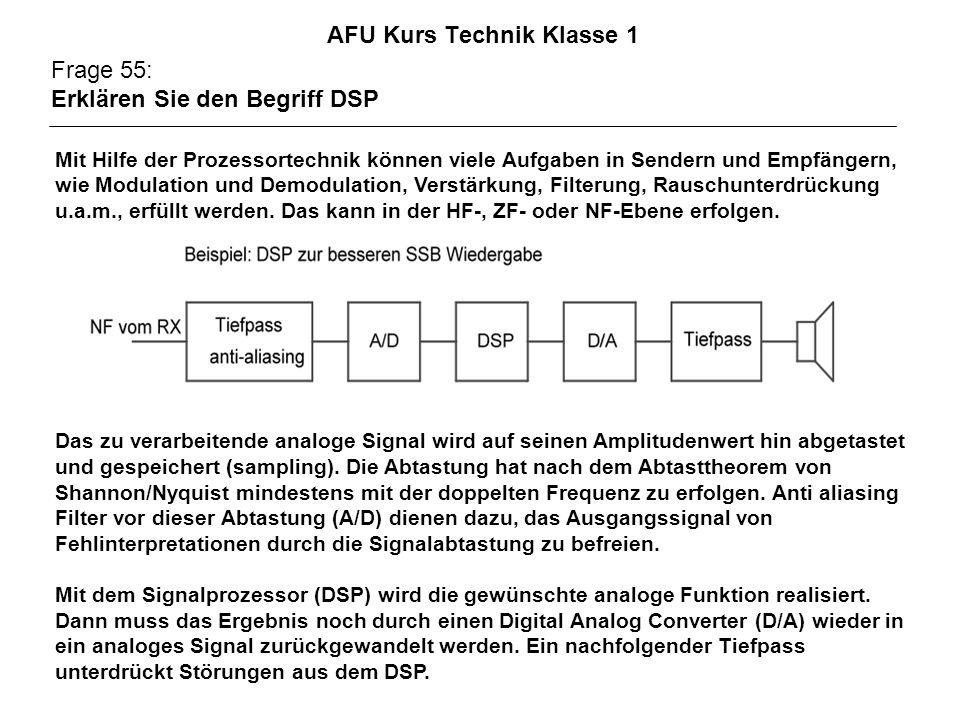 AFU Kurs Technik Klasse 1 Frage 55: Erklären Sie den Begriff DSP Mit Hilfe der Prozessortechnik können viele Aufgaben in Sendern und Empfängern, wie Modulation und Demodulation, Verstärkung, Filterung, Rauschunterdrückung u.a.m., erfüllt werden.