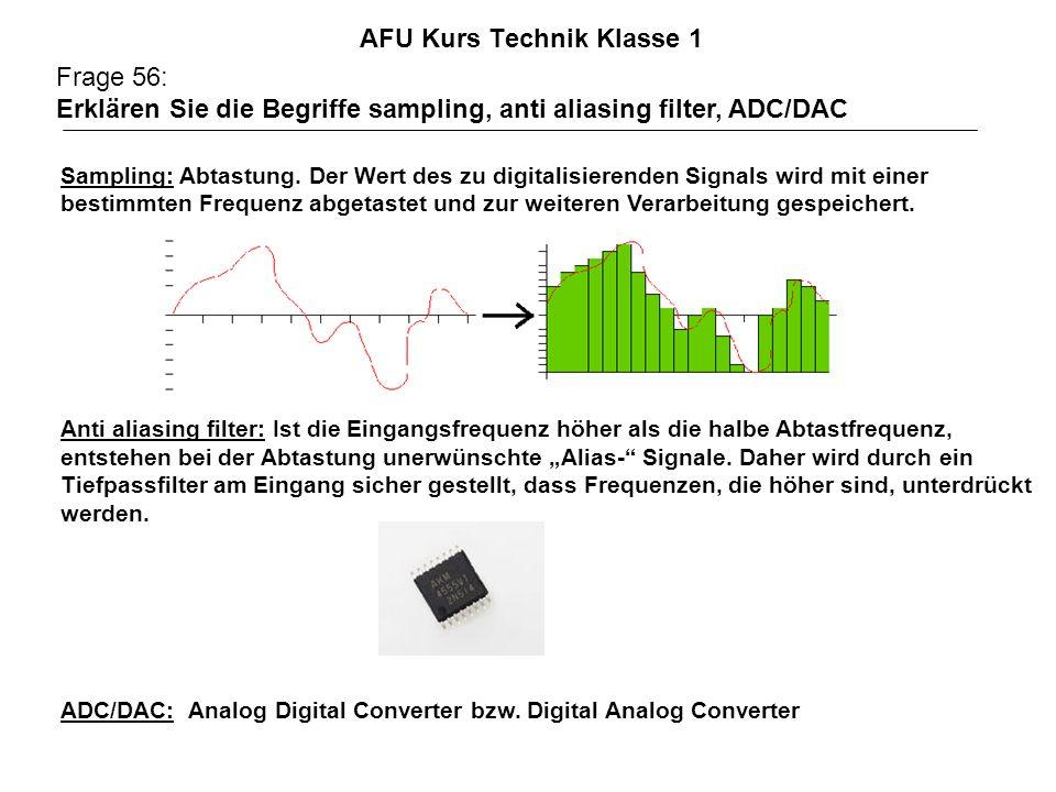 AFU Kurs Technik Klasse 1 Frage 56: Erklären Sie die Begriffe sampling, anti aliasing filter, ADC/DAC Sampling: Abtastung. Der Wert des zu digitalisie