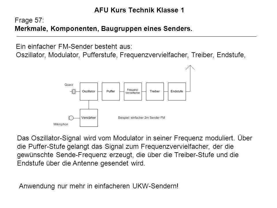 AFU Kurs Technik Klasse 1 Frage 57: Merkmale, Komponenten, Baugruppen eines Senders. Anwendung nur mehr in einfacheren UKW-Sendern! Ein einfacher FM-S
