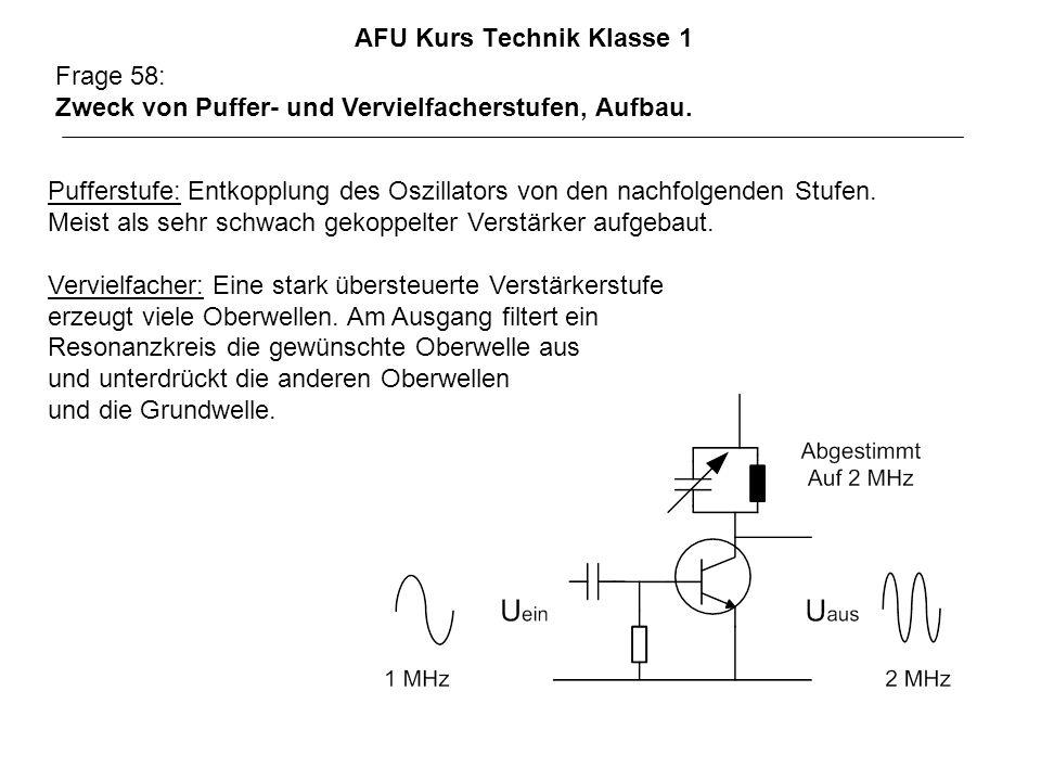 AFU Kurs Technik Klasse 1 Frage 58: Zweck von Puffer- und Vervielfacherstufen, Aufbau. Pufferstufe: Entkopplung des Oszillators von den nachfolgenden