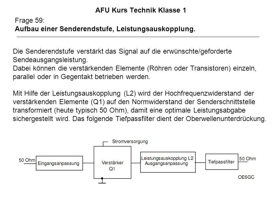 AFU Kurs Technik Klasse 1 Frage 59: Aufbau einer Senderendstufe, Leistungsauskopplung. Die Senderendstufe verstärkt das Signal auf die erwünschte/gefo