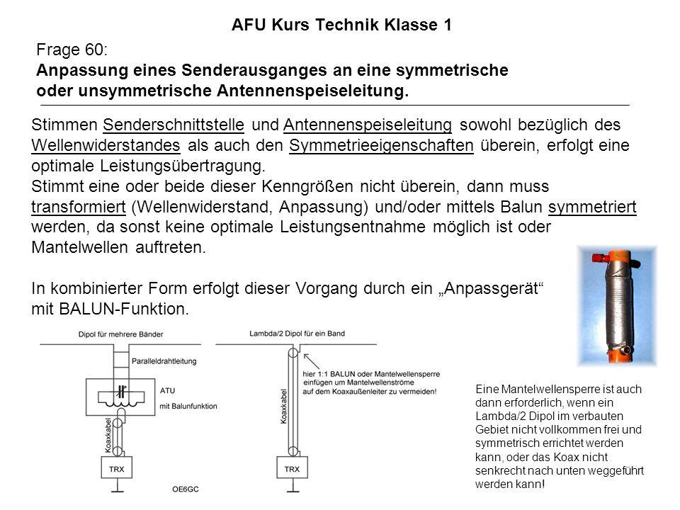 AFU Kurs Technik Klasse 1 Frage 60: Anpassung eines Senderausganges an eine symmetrische oder unsymmetrische Antennenspeiseleitung.
