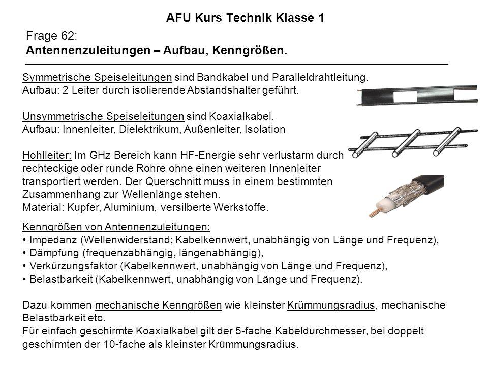 AFU Kurs Technik Klasse 1 Frage 62: Antennenzuleitungen – Aufbau, Kenngrößen. Symmetrische Speiseleitungen sind Bandkabel und Paralleldrahtleitung. Au