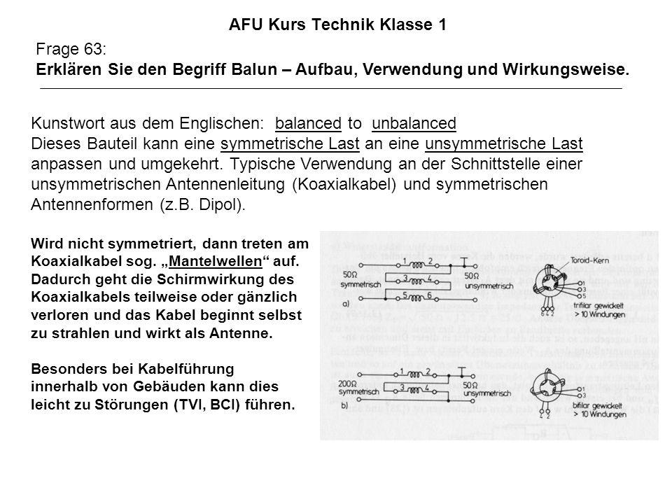 AFU Kurs Technik Klasse 1 Frage 63: Erklären Sie den Begriff Balun – Aufbau, Verwendung und Wirkungsweise. Kunstwort aus dem Englischen: balanced to u