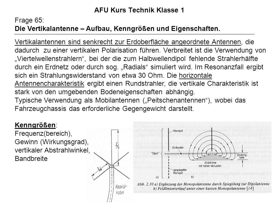AFU Kurs Technik Klasse 1 Frage 65: Die Vertikalantenne – Aufbau, Kenngrößen und Eigenschaften. Vertikalantennen sind senkrecht zur Erdoberfläche ange