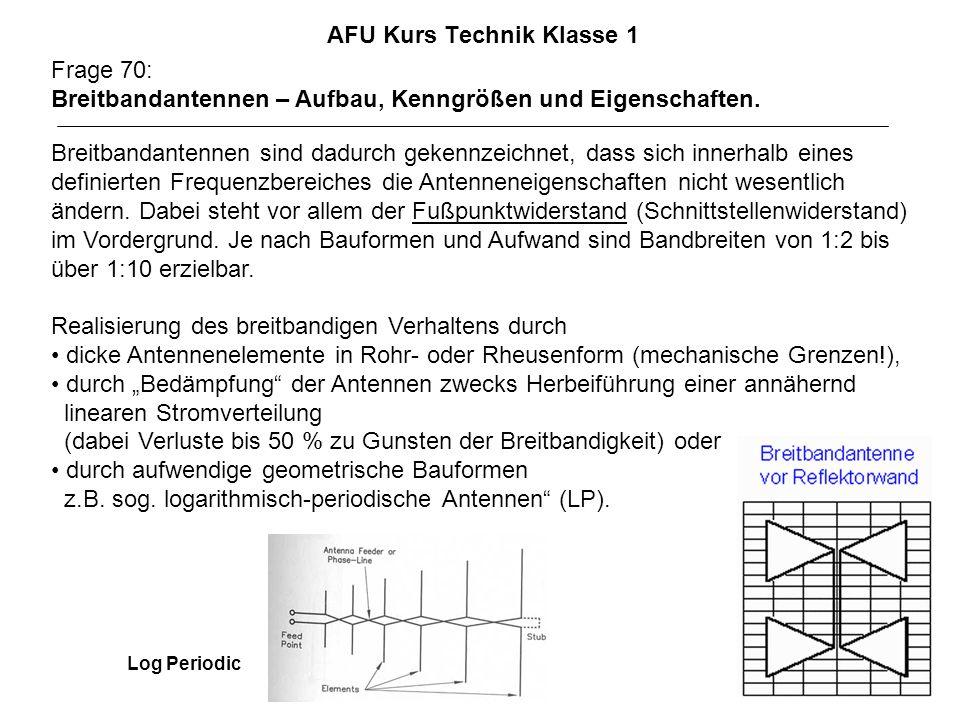 AFU Kurs Technik Klasse 1 Frage 70: Breitbandantennen – Aufbau, Kenngrößen und Eigenschaften. Breitbandantennen sind dadurch gekennzeichnet, dass sich