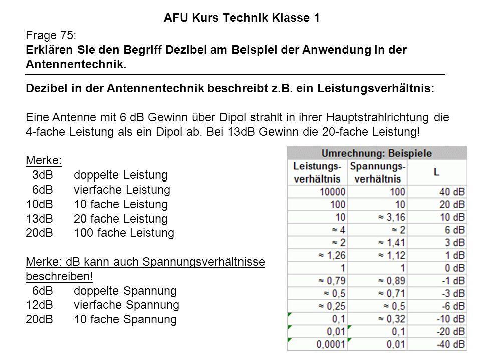 AFU Kurs Technik Klasse 1 Frage 75: Erklären Sie den Begriff Dezibel am Beispiel der Anwendung in der Antennentechnik. Dezibel in der Antennentechnik