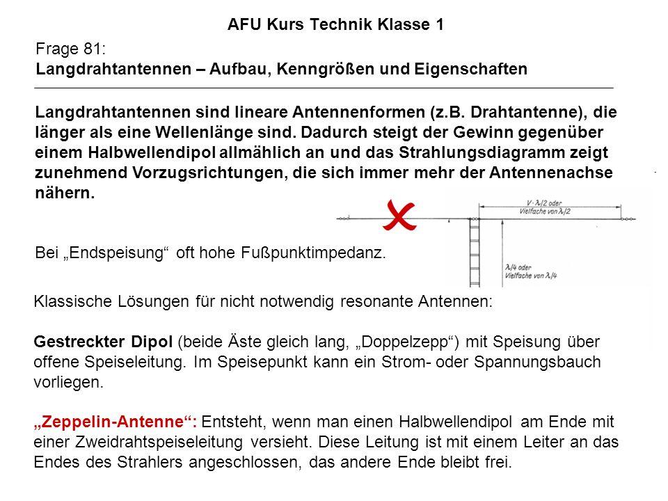 AFU Kurs Technik Klasse 1 Frage 81: Langdrahtantennen – Aufbau, Kenngrößen und Eigenschaften Langdrahtantennen sind lineare Antennenformen (z.B. Draht