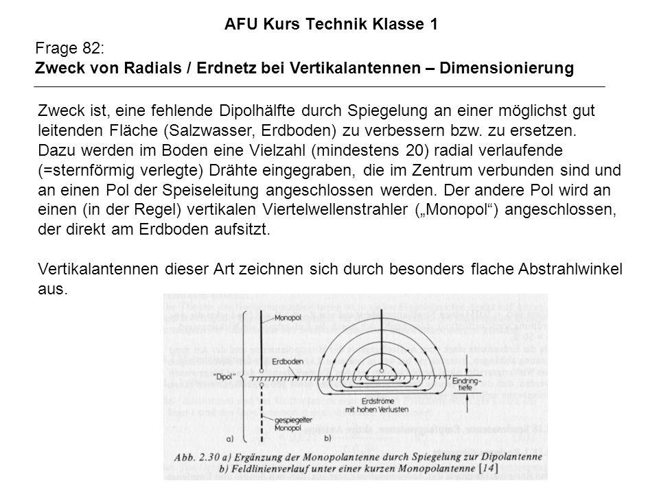 AFU Kurs Technik Klasse 1 Frage 82: Zweck von Radials / Erdnetz bei Vertikalantennen – Dimensionierung Zweck ist, eine fehlende Dipolhälfte durch Spie