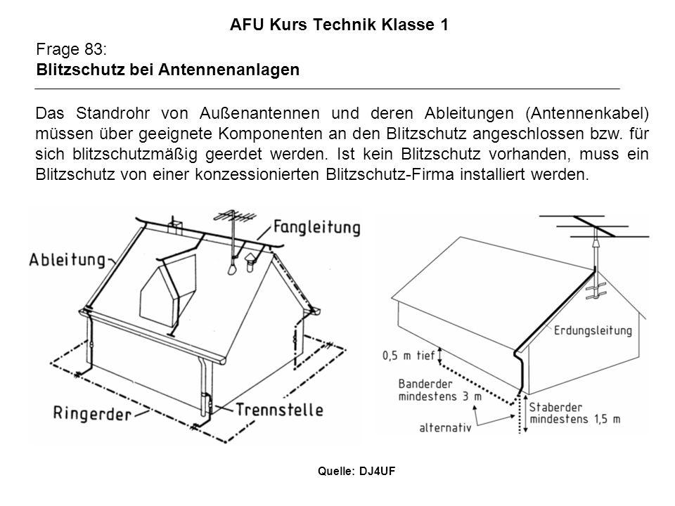 AFU Kurs Technik Klasse 1 Frage 83: Blitzschutz bei Antennenanlagen Das Standrohr von Außenantennen und deren Ableitungen (Antennenkabel) müssen über geeignete Komponenten an den Blitzschutz angeschlossen bzw.