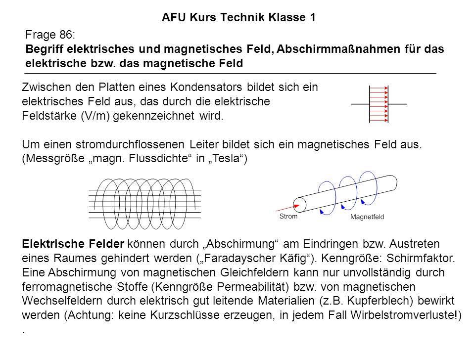 AFU Kurs Technik Klasse 1 Frage 86: Begriff elektrisches und magnetisches Feld, Abschirmmaßnahmen für das elektrische bzw. das magnetische Feld Zwisch