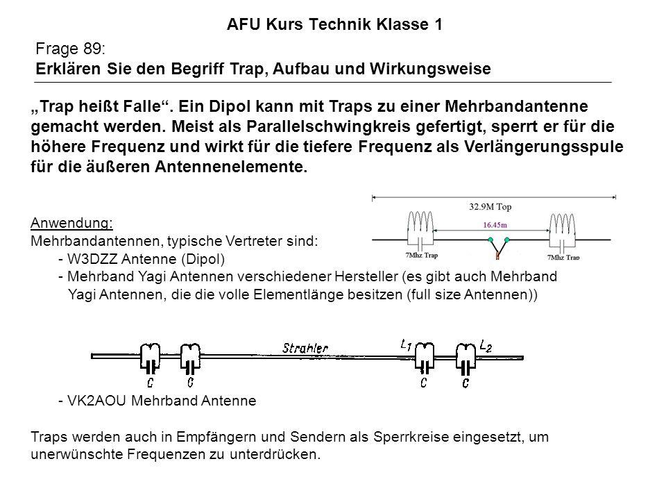 AFU Kurs Technik Klasse 1 Frage 89: Erklären Sie den Begriff Trap, Aufbau und Wirkungsweise Trap heißt Falle. Ein Dipol kann mit Traps zu einer Mehrba