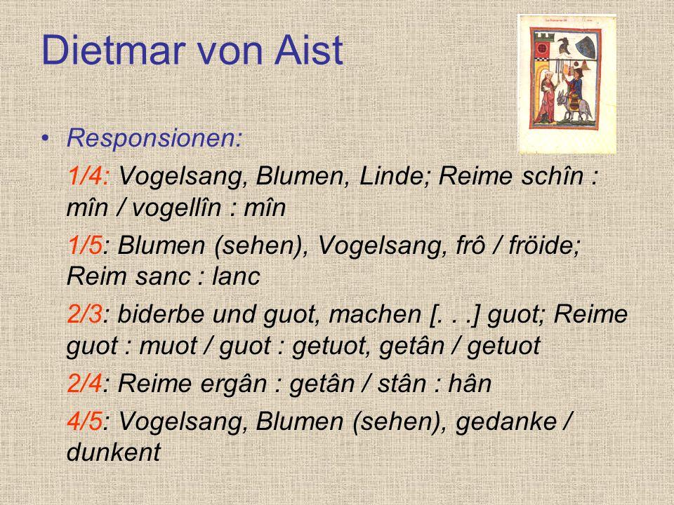 Dietmar von Aist Responsionen: 1/4: Vogelsang, Blumen, Linde; Reime schîn : mîn / vogellîn : mîn 1/5: Blumen (sehen), Vogelsang, frô / fröide; Reim sa