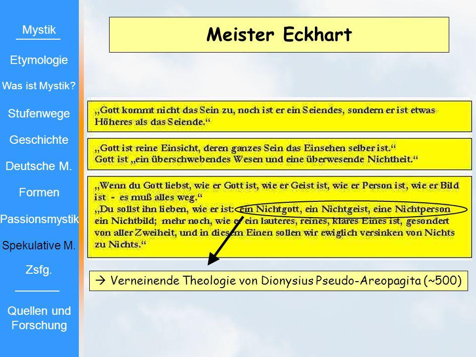 Meister Eckhart Verneinende Theologie von Dionysius Pseudo-Areopagita (~500) Mystik Etymologie Stufenwege Geschichte Deutsche M. Formen Passionsmystik