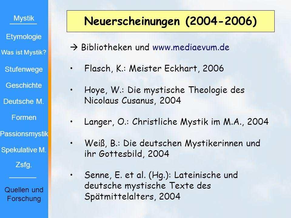 Neuerscheinungen (2004-2006) Bibliotheken und www.mediaevum.de Flasch, K.: Meister Eckhart, 2006 Hoye, W.: Die mystische Theologie des Nicolaus Cusanu