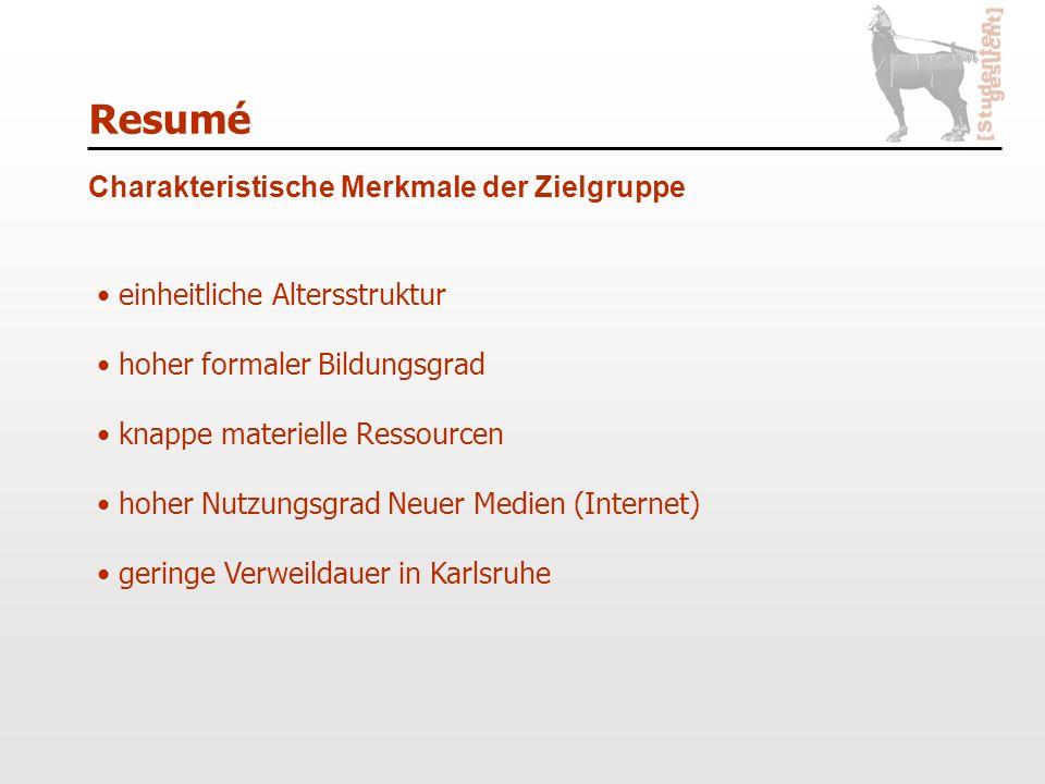 Resumé Charakteristische Merkmale der Zielgruppe einheitliche Altersstruktur hoher formaler Bildungsgrad knappe materielle Ressourcen hoher Nutzungsgrad Neuer Medien (Internet) geringe Verweildauer in Karlsruhe
