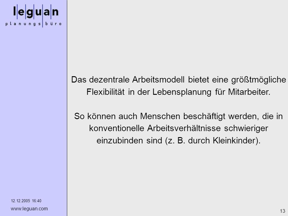 12.12.2005 16:40 www.leguan.com 13 Das dezentrale Arbeitsmodell bietet eine größtmögliche Flexibilität in der Lebensplanung für Mitarbeiter. So können