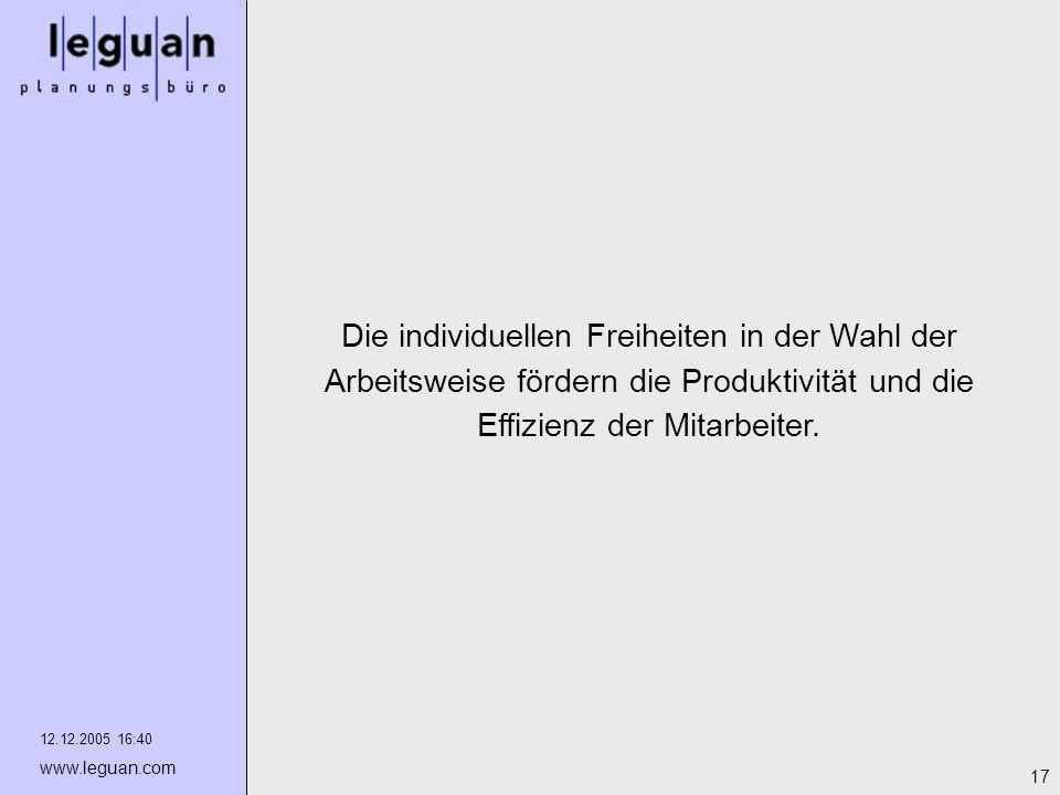 12.12.2005 16:40 www.leguan.com 17 Die individuellen Freiheiten in der Wahl der Arbeitsweise fördern die Produktivität und die Effizienz der Mitarbeit