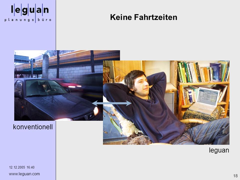 12.12.2005 16:40 www.leguan.com 18 Keine Fahrtzeiten leguan konventionell
