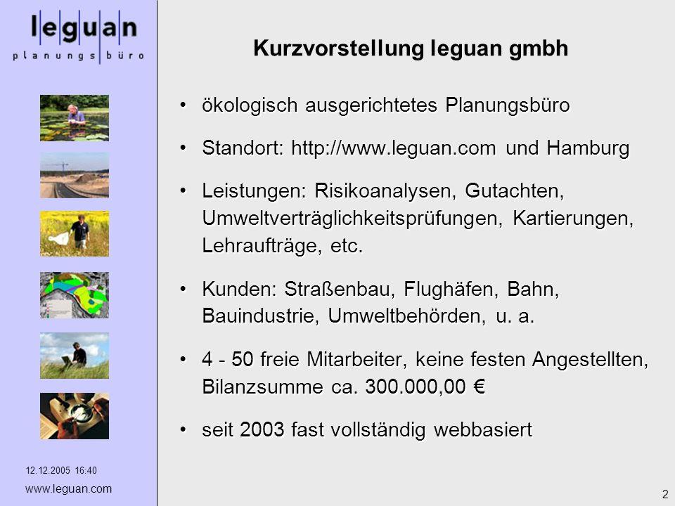 12.12.2005 16:40 www.leguan.com 2 Kurzvorstellung leguan gmbh ökologisch ausgerichtetes Planungsbüroökologisch ausgerichtetes Planungsbüro Standort: h