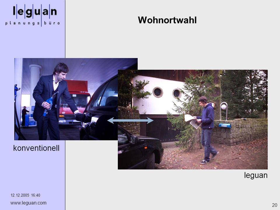 12.12.2005 16:40 www.leguan.com 20 Wohnortwahl leguan konventionell