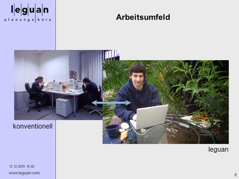 12.12.2005 16:40 www.leguan.com 6 Arbeitsumfeld leguan konventionell