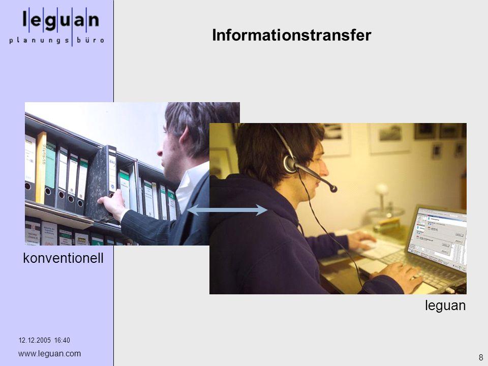 12.12.2005 16:40 www.leguan.com 8 Informationstransfer leguan konventionell