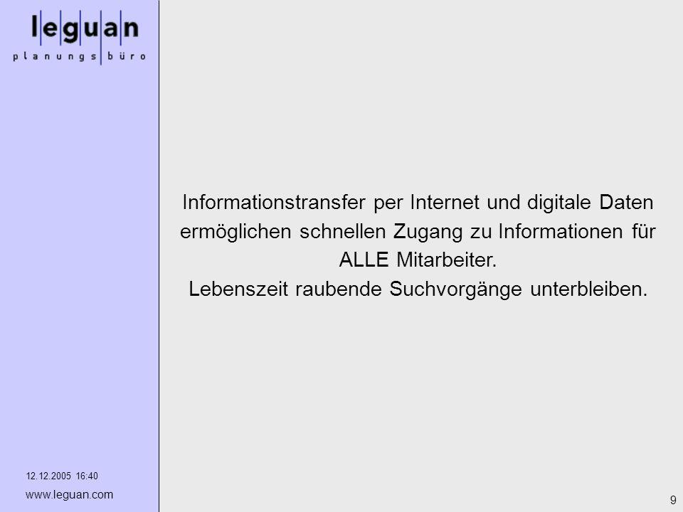 12.12.2005 16:40 www.leguan.com 9 Informationstransfer per Internet und digitale Daten ermöglichen schnellen Zugang zu Informationen für ALLE Mitarbei