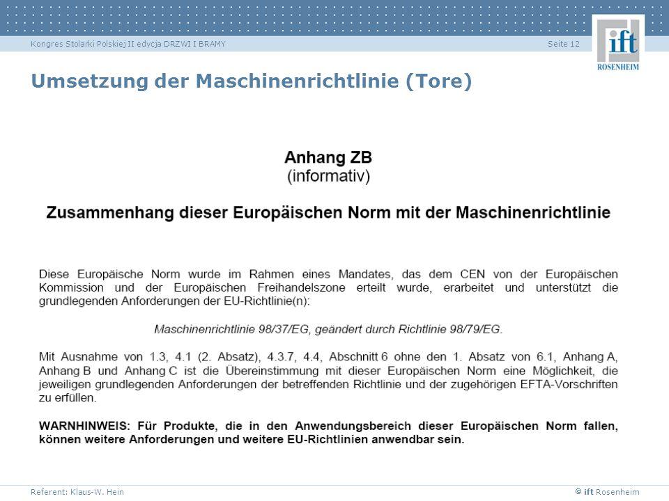 ift Rosenheim Referent: Klaus-W. Hein Seite 12Kongres Stolarki Polskiej II edycja DRZWI I BRAMY Umsetzung der Maschinenrichtlinie (Tore)
