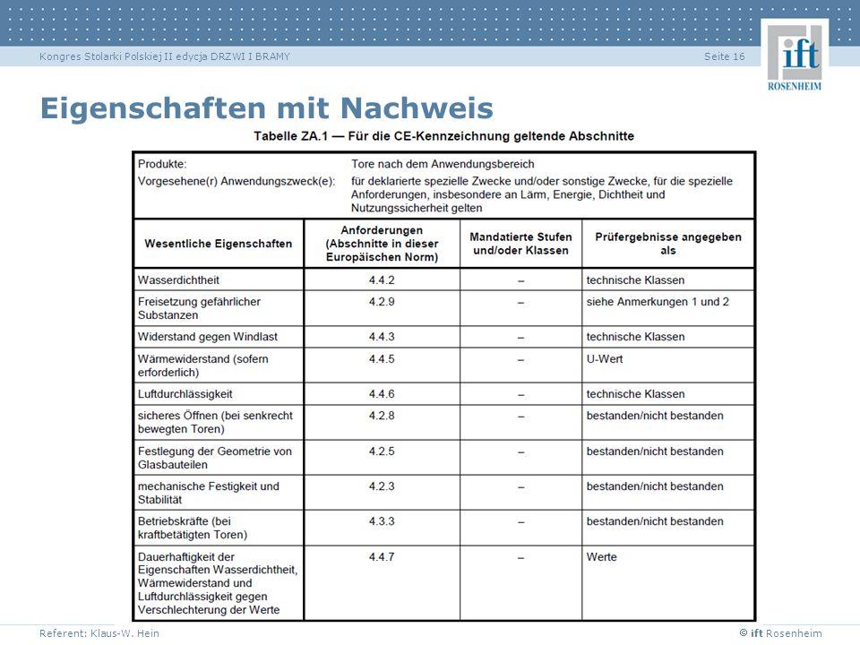 ift Rosenheim Referent: Klaus-W. Hein Seite 16Kongres Stolarki Polskiej II edycja DRZWI I BRAMY Eigenschaften mit Nachweis