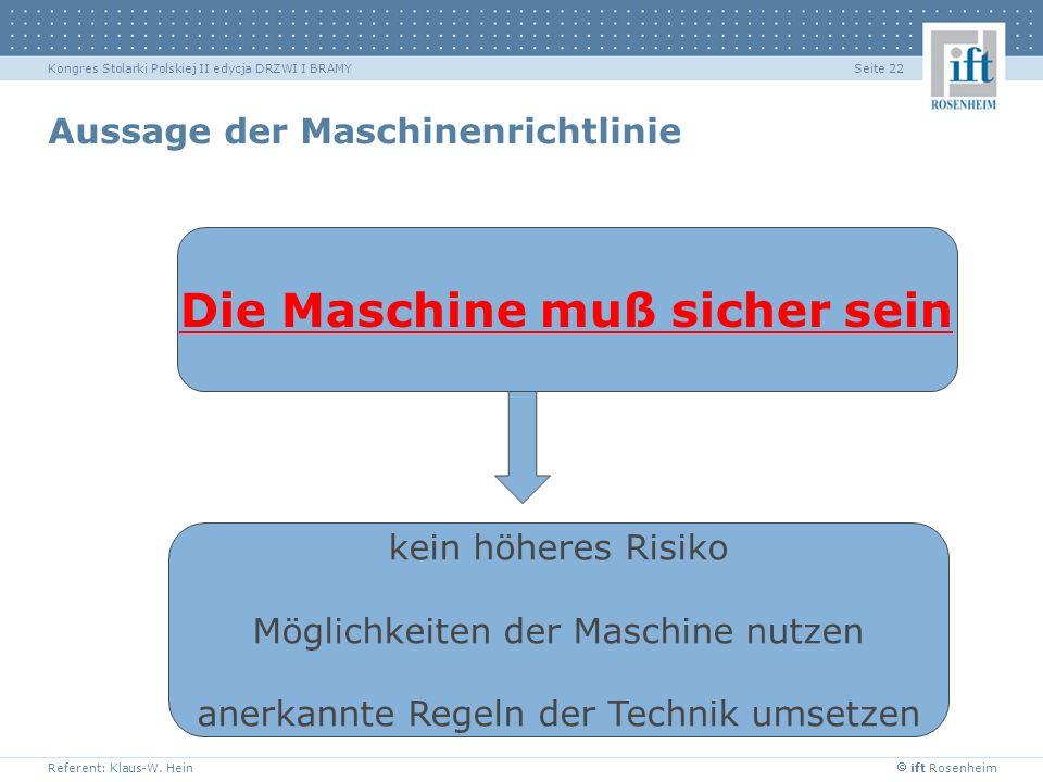 ift Rosenheim Referent: Klaus-W. Hein Seite 22Kongres Stolarki Polskiej II edycja DRZWI I BRAMY Aussage der Maschinenrichtlinie Die Maschine muß siche