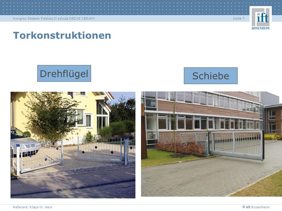 ift Rosenheim Referent: Klaus-W. Hein Seite 7Kongres Stolarki Polskiej II edycja DRZWI I BRAMY Torkonstruktionen Drehflügel Schiebe