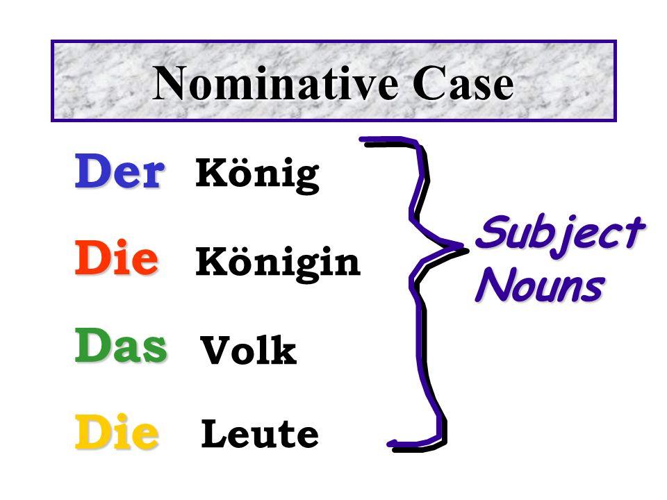 Nominative Case DerDieDasDie König Königin Volk Leute SubjectNouns