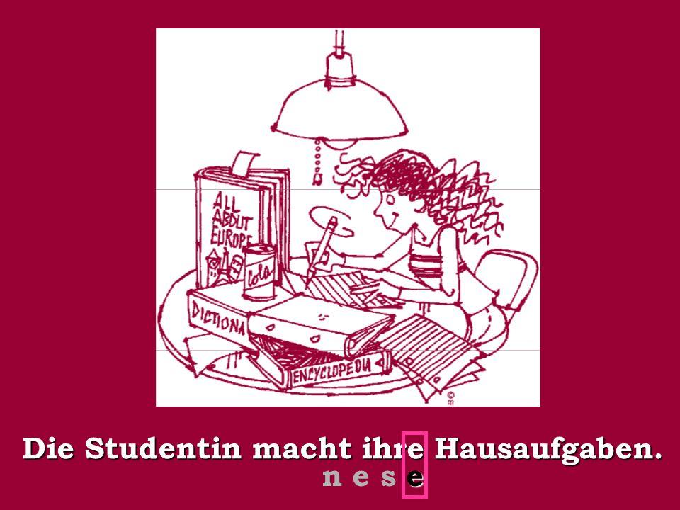 Die Studentin macht ihre Hausaufgaben. e n e s e