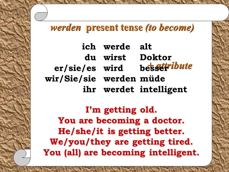 werden future tense + infinitive werde wirst wird werden werdet ich du er/sie/es wir/Sie/sie ihr sein wissen kommen gehen lernen werden werden future tense + infinitive werde wirst wird werden werdet ich du er/sie/es wir/Sie/sie ihr alt werden doktor werden besser werden müde werden intelligent werden willdo will become