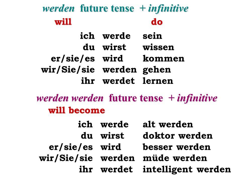 werden future tense + infinitive werde wirst wird werden werdet ich du er/sie/es wir/Sie/sie ihr sein wissen kommen gehen lernen werden werden future