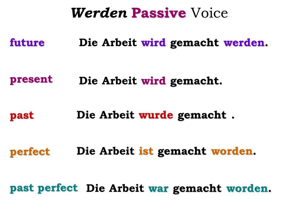 Passive Werden Passive Voice futurepresentpastperfect past perfect wird gemacht werden. Die Arbeit wird gemacht werden. wird gemacht. Die Arbeit wird
