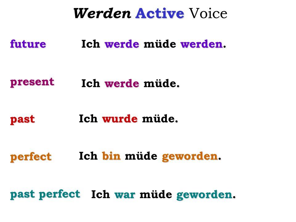 Active Werden Active Voice futurepresentpastperfect past perfect werdewerden Ich werde müde werden. werde. Ich werde müde. wurde. Ich wurde müde. bin