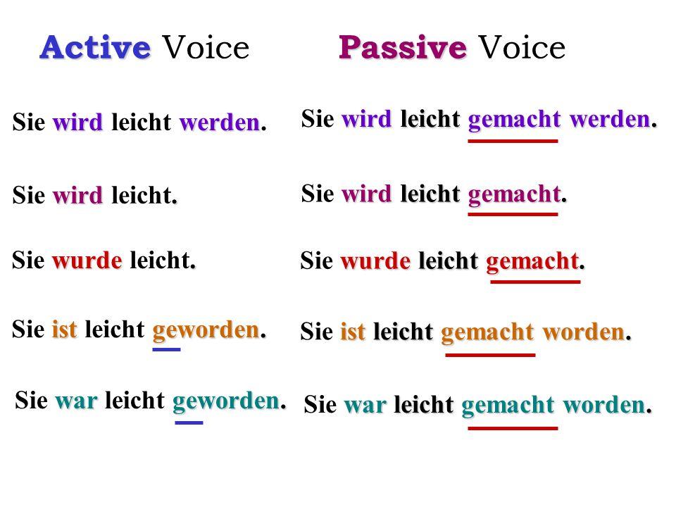 Active Active Voice wirdwerden Sie wird leicht werden. wird. Sie wird leicht. wurde. Sie wurde leicht. ist geworden. Sie ist leicht geworden. war gewo