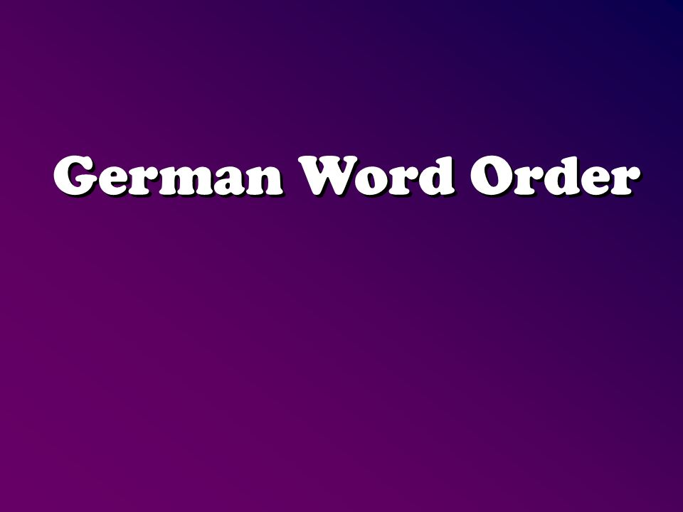 German Word Order