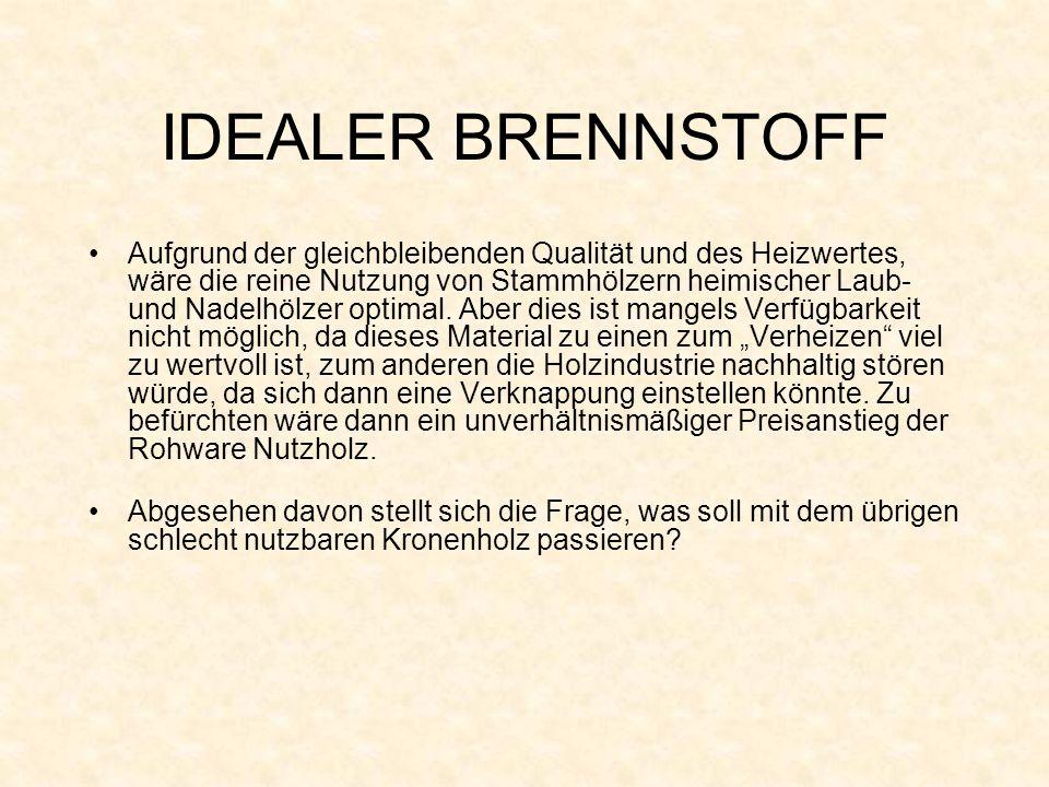 IDEALER BRENNSTOFF Aufgrund der gleichbleibenden Qualität und des Heizwertes, wäre die reine Nutzung von Stammhölzern heimischer Laub- und Nadelhölzer