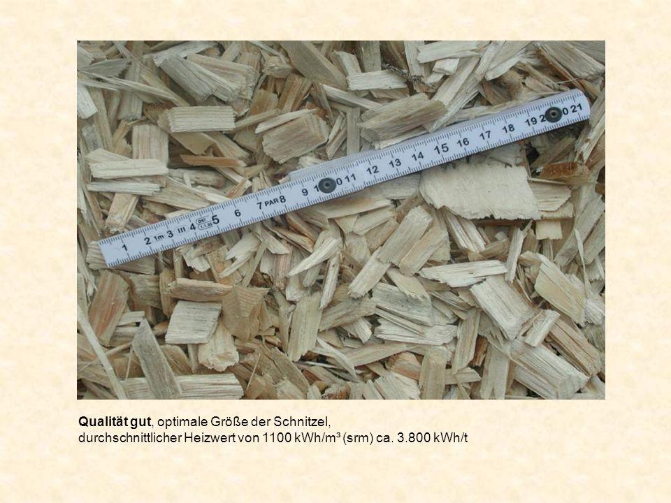 Qualität gut, optimale Größe der Schnitzel, durchschnittlicher Heizwert von 1100 kWh/m³ (srm) ca. 3.800 kWh/t
