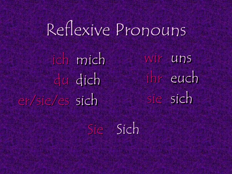 Reflexive Pronouns michdichsich mich dich sich Sich unseuchsich uns euch sich ichduer/sie/es wirihrsie Sie