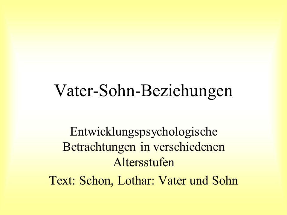 Vater-Sohn-Beziehungen Entwicklungspsychologische Betrachtungen in verschiedenen Altersstufen Text: Schon, Lothar: Vater und Sohn