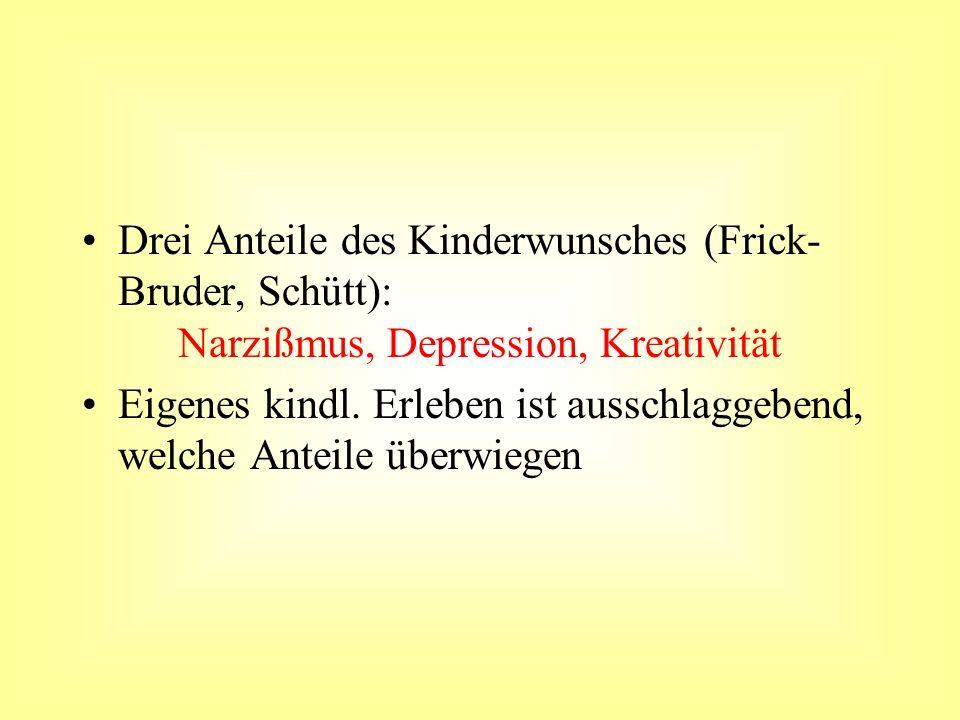 Drei Anteile des Kinderwunsches (Frick- Bruder, Schütt): Narzißmus, Depression, Kreativität Eigenes kindl. Erleben ist ausschlaggebend, welche Anteile