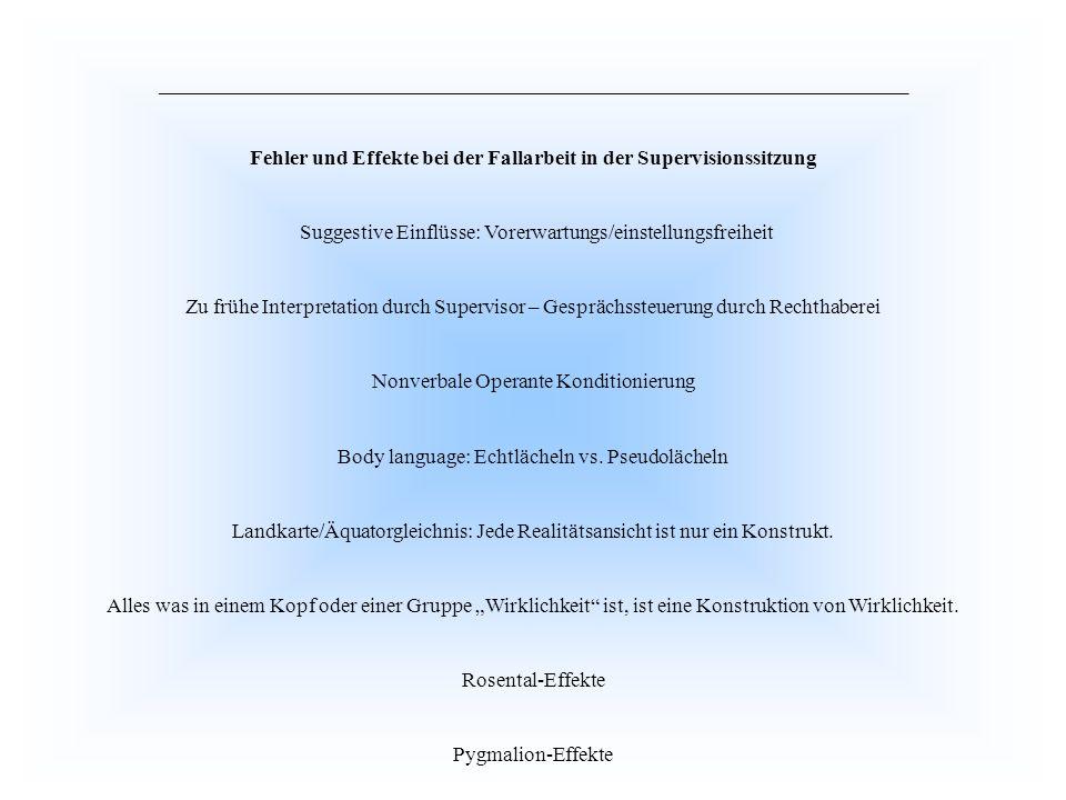 Fehler und Effekte bei der Fallarbeit in der Supervisionssitzung Suggestive Einflüsse: Vorerwartungs/einstellungsfreiheit Zu frühe Interpretation durc