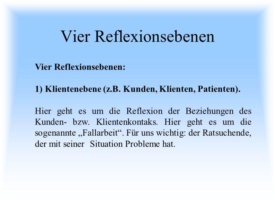 Vier Reflexionsebenen Vier Reflexionsebenen: 1) Klientenebene (z.B. Kunden, Klienten, Patienten). Hier geht es um die Reflexion der Beziehungen des Ku