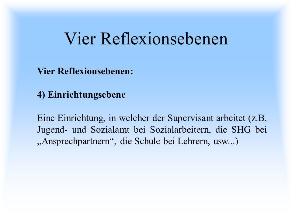 Vier Reflexionsebenen Vier Reflexionsebenen: 4) Einrichtungsebene Eine Einrichtung, in welcher der Supervisant arbeitet (z.B. Jugend- und Sozialamt be