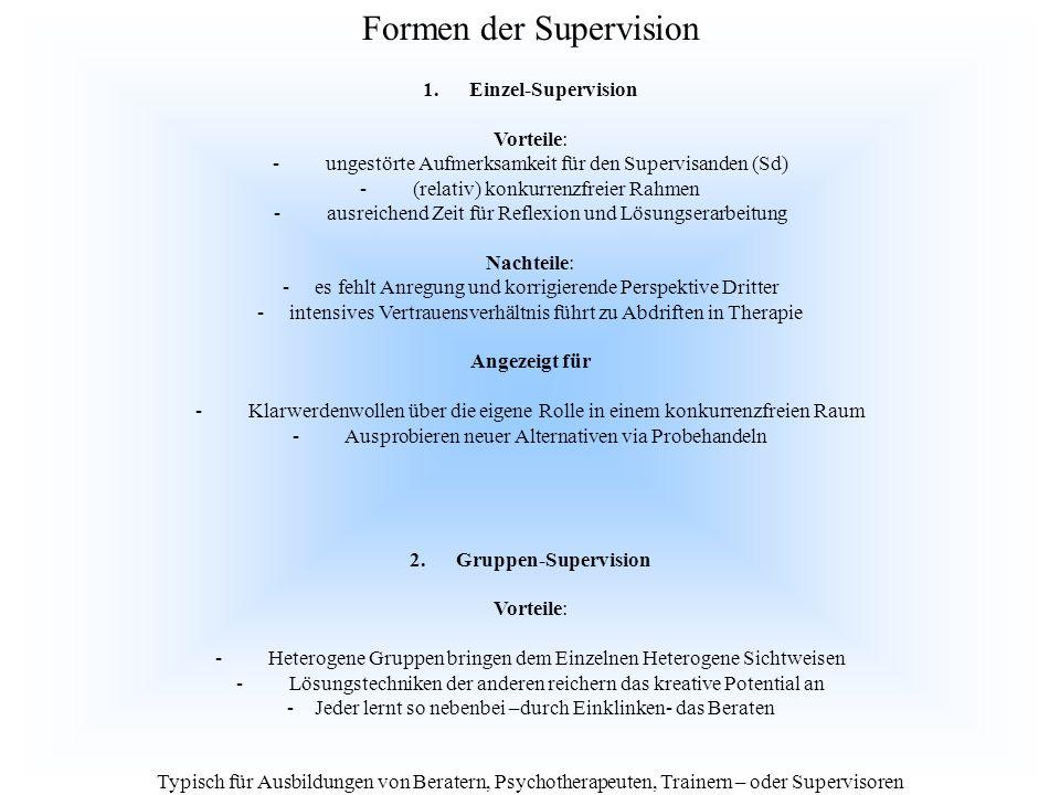 1. Einzel-Supervision Vorteile: - ungestörte Aufmerksamkeit für den Supervisanden (Sd) - (relativ) konkurrenzfreier Rahmen - ausreichend Zeit für Refl