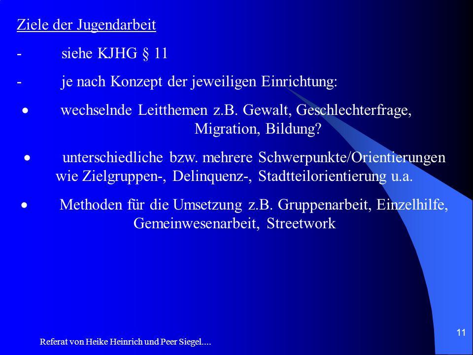 Referat von Heike Heinrich und Peer Siegel.... 11 Ziele der Jugendarbeit - siehe KJHG § 11 - je nach Konzept der jeweiligen Einrichtung: wechselnde Le